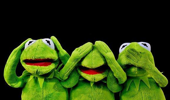 illustratie van kermit de kikker, niet horen, zien en zwijgen